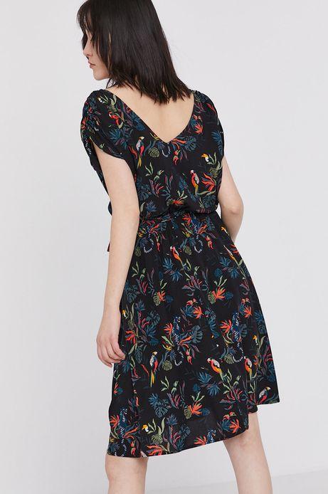 Wzorzysta sukienka damska z marszczeniami czarna