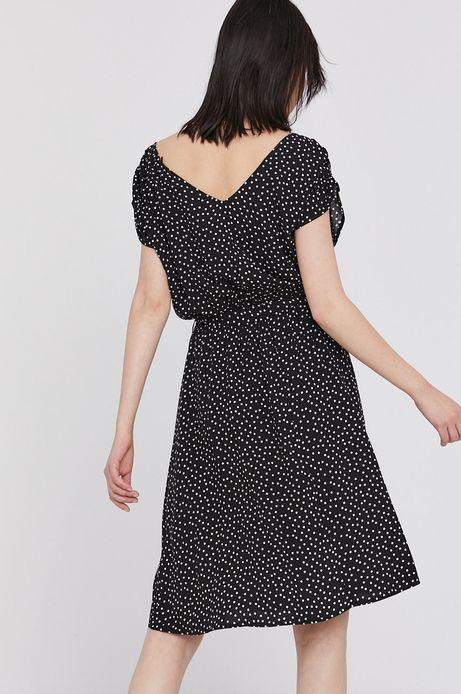Sukienka damska w groszki z marszczeniami czarna