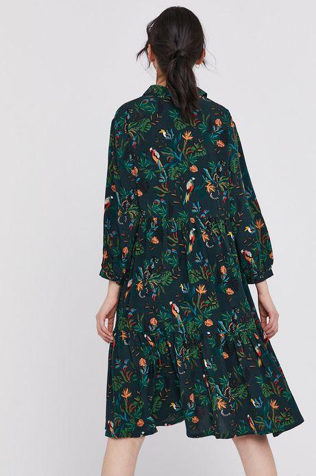 Sukienka damska z wiskozy o rozkloszowanym kroju wzorzysta