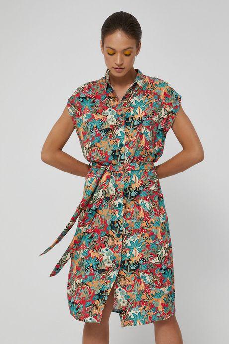Wzorzysta sukienka damska w koszulowym stylu z wiskozy