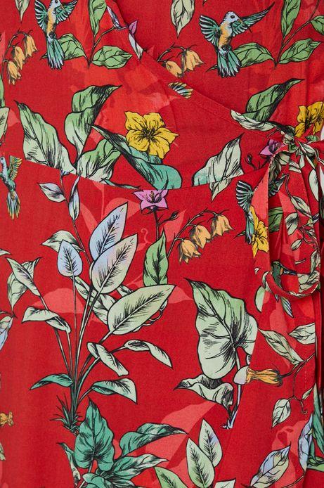 Kopertowa sukienka damska w roślinny wzór czerwona