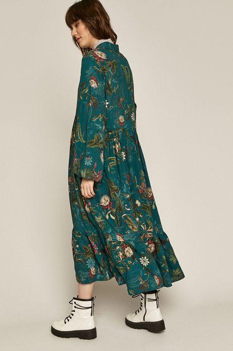 Wzorzysta sukienka damska z kołnierzykiem turkusowa