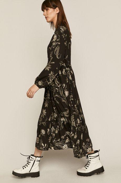 Wzorzysta sukienka damska z kołnierzykiem czarna