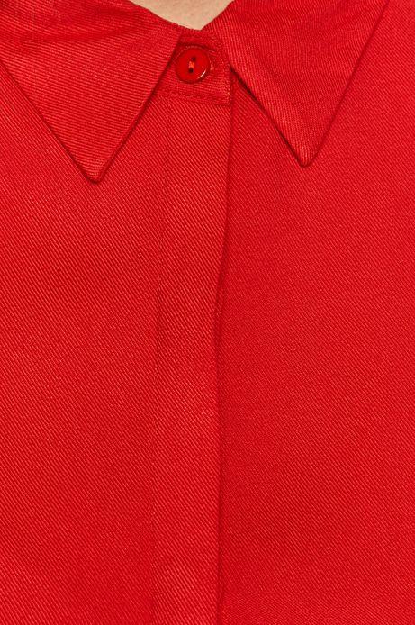 Gładka sukienka damska z falbanką czerwona