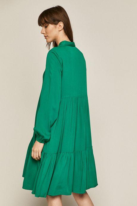 Gładka sukienka damska z falbanką zielona