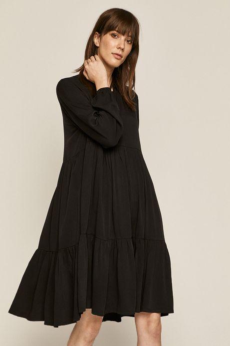 Gładka sukienka damska z falbanką czarna