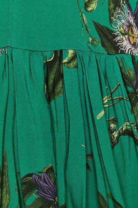 Sukienka damska w roślinny wzór zielona