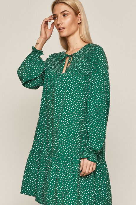 Sukienka damska w grochy zielona