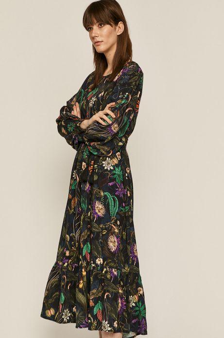 Sukienka damska w roślinny wzór czarna