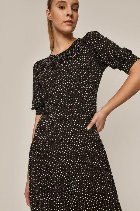 Sukienka damska w groszki czarna