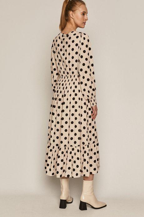 Sukienka damska w grochy kremowa