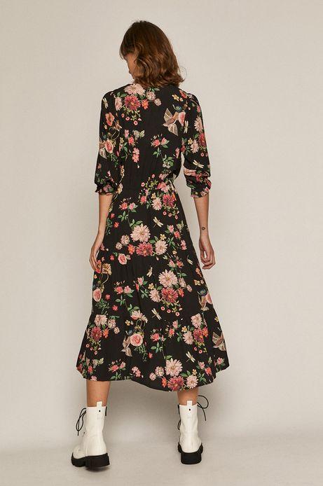 Sukienka damska z okrągłym kołnierzem w kwiaty czarna