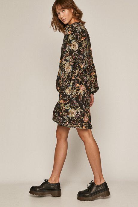 Sukienka damska z wiskozy w kwiaty czarna