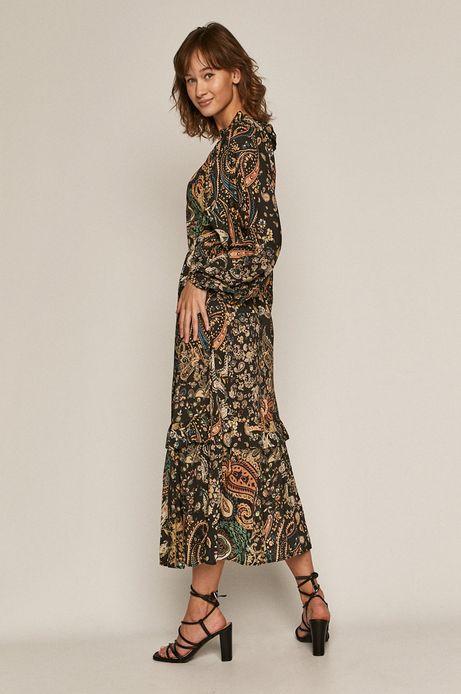 Długa sukienka damska  z wiskozy wzorzysta