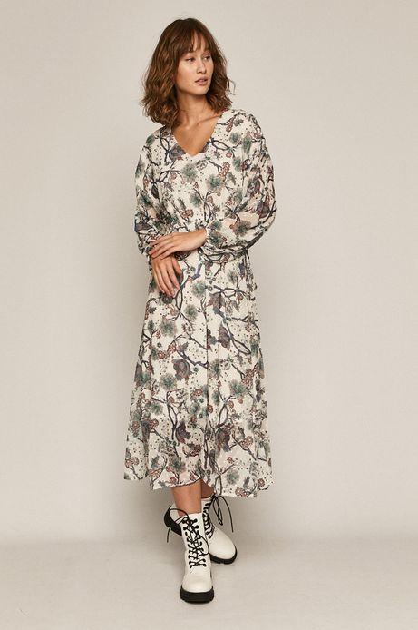 Długa sukienka damska wzorzysta kremowa