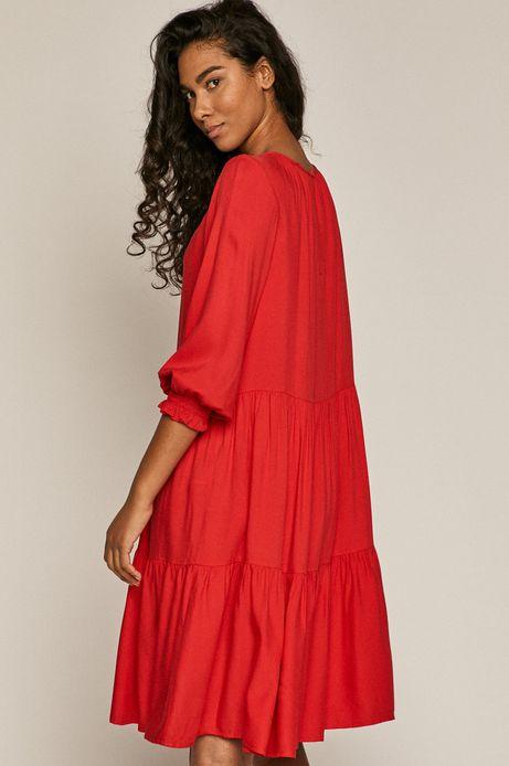 Sukienka damska z falbanką czerwona