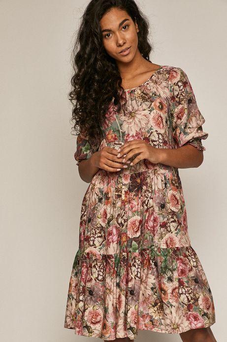 Sukienka damska w kwiaty z falbanką zielona