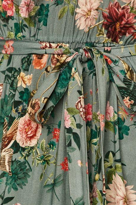 Sukienka damska z marszczeniami w kwiaty turkusowa