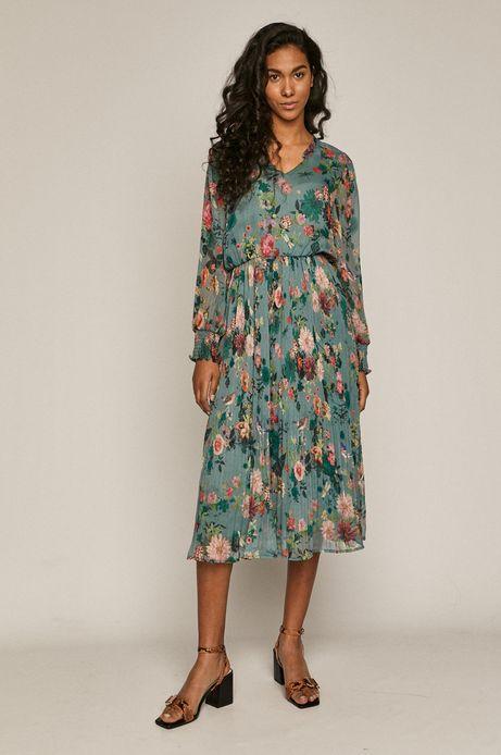 Sukienka damska z plisowanej tkaniny w kwiaty