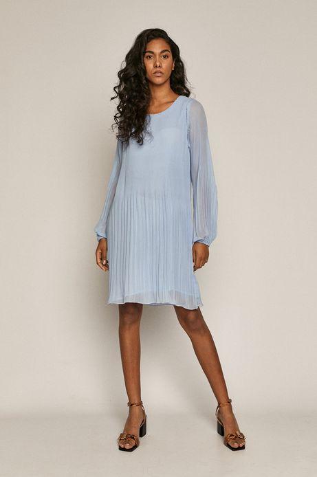 Sukienka damska z plisowanej tkaniny niebieska