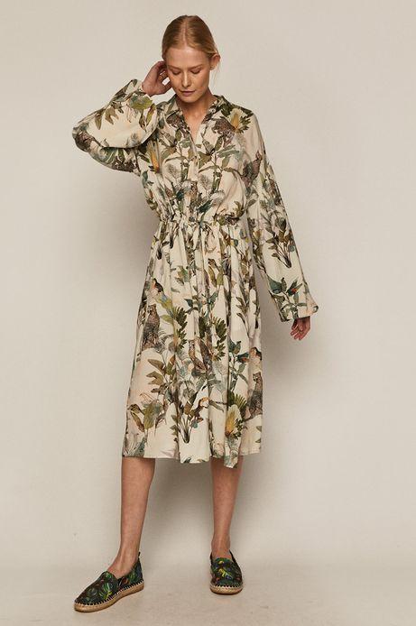 Sukienka damska z wiskozy w egzotyczny wzór kremowa