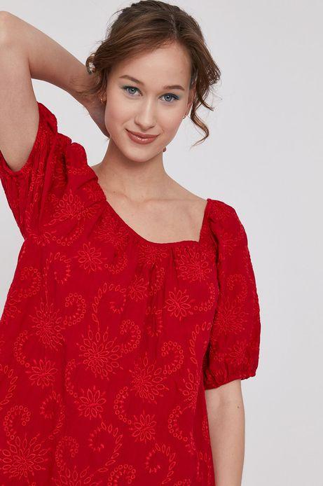 Sukienka damska z haftem czerwona