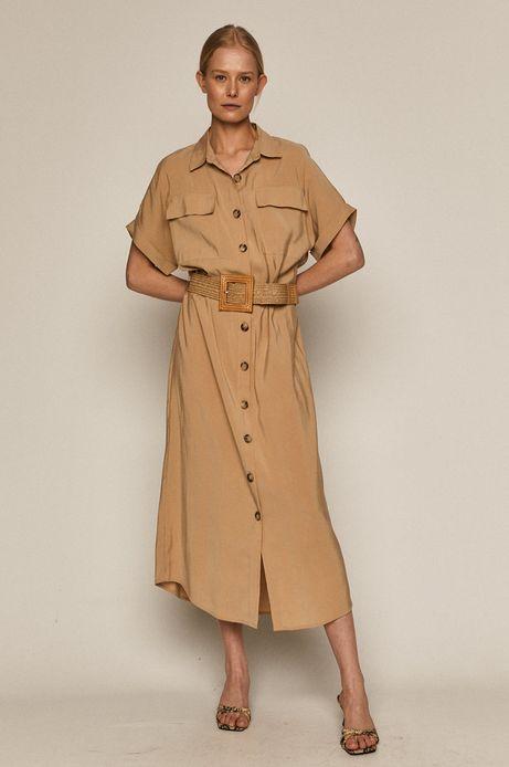 Sukienka damska z modalu z guzikami beżowa