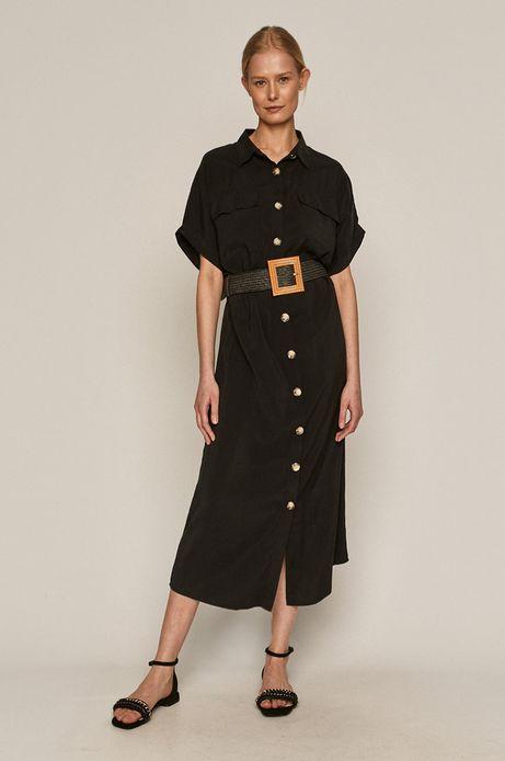 Sukienka damska z modalu z guzikami czarna