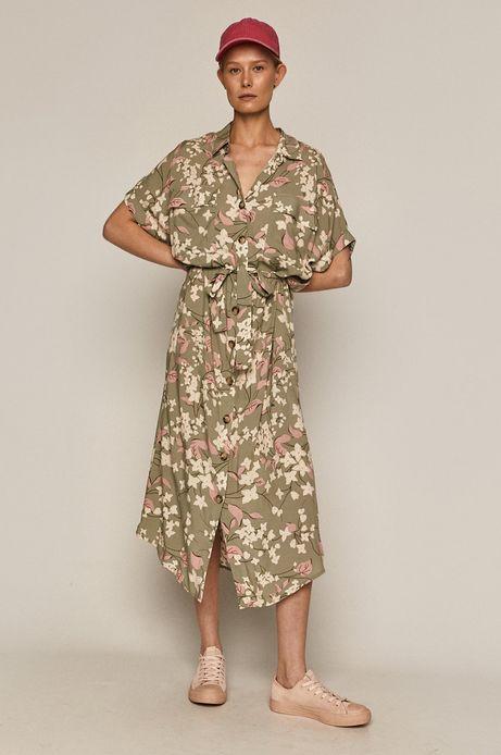Długa sukienka damska oversize z wiskozy EcoVero zielona