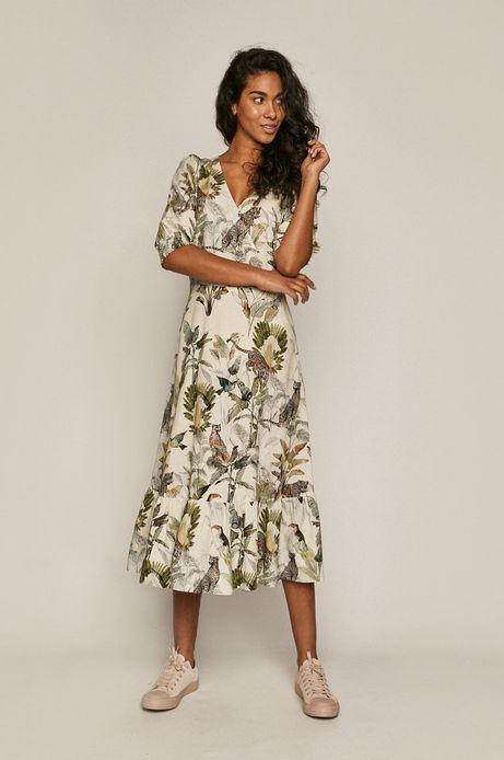 Kopertowa sukienka damska z domieszką lnu beżowa