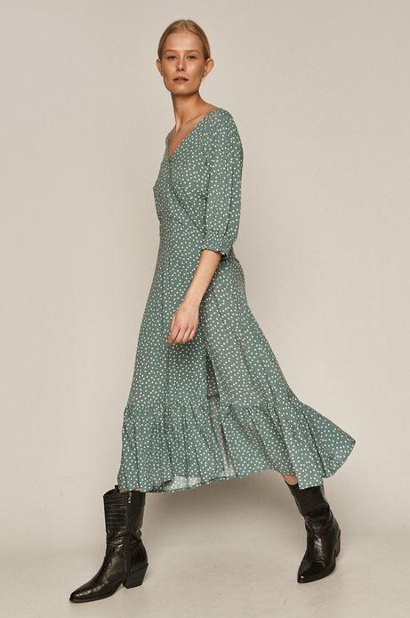 Sukienka damska w groszki z rozcięciem turkusowa