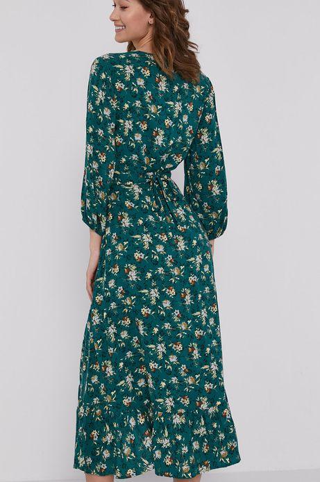 Sukienka damska w kwiaty z zakładanym dekoltem turkusowa
