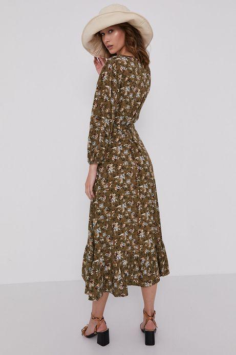 Sukienka damska w kwiaty z zakładanym dekoltem beżowa