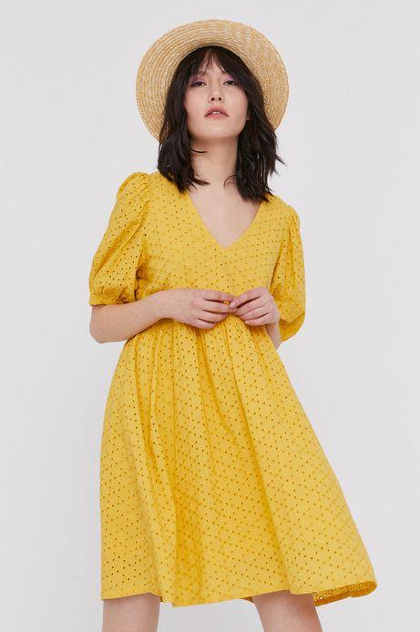Ażurowa sukienka damska żółta
