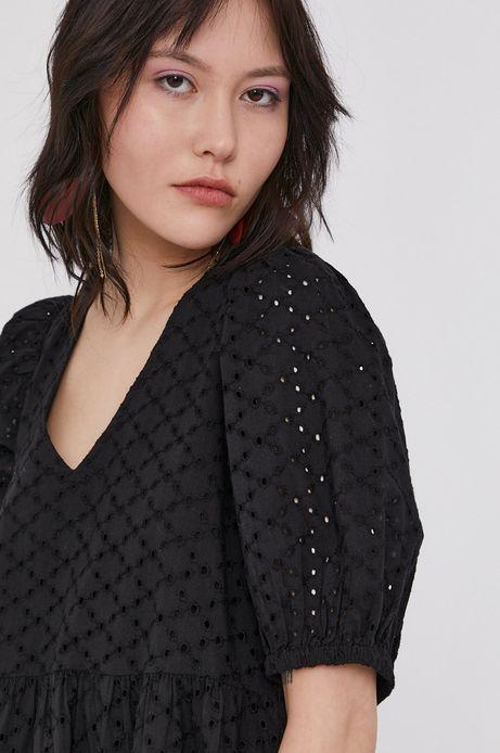 Ażurowa sukienka damska z fantazyjnym tyłem czarna