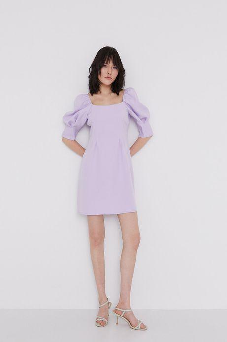 Sukienka damska z bufkami fioletowa