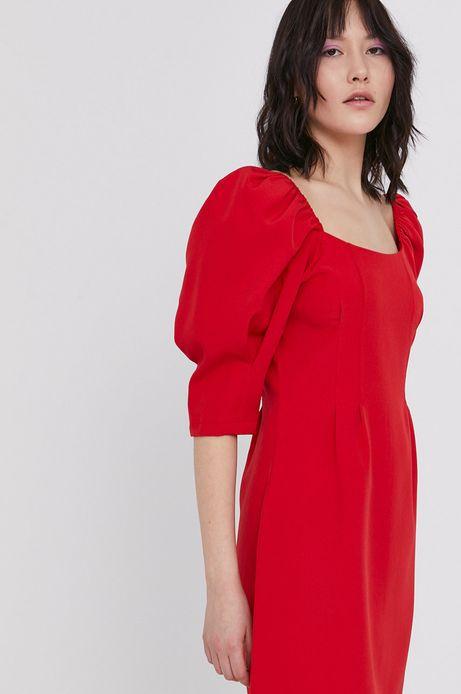 Sukienka damska z bufkami czerwona