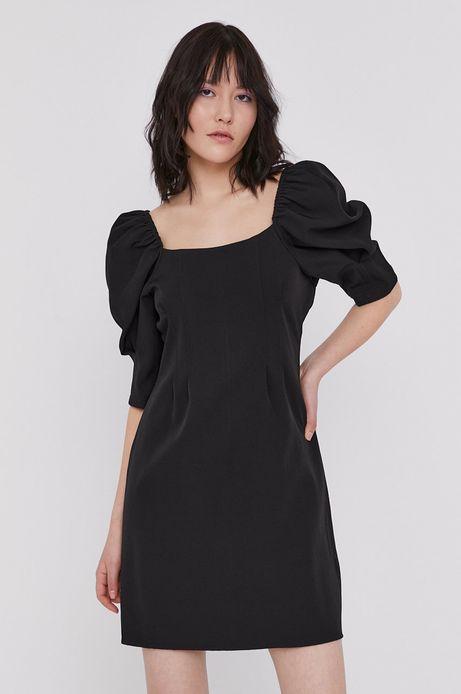 Sukienka damska z bufkami czarna