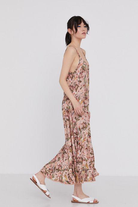Wzorzysta długa sukienka na ramiączkach beżowa