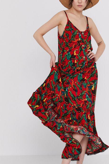 Wzorzysta długa sukienka na ramiączkach czerwona