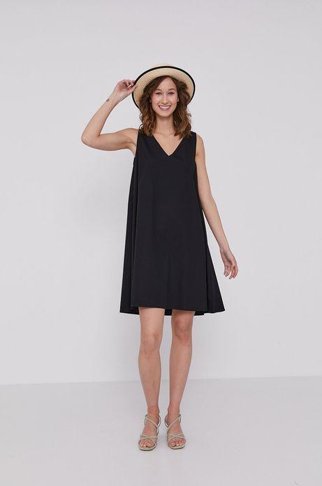 Sukienka damska z wiskozy w kształcie litery A czarna
