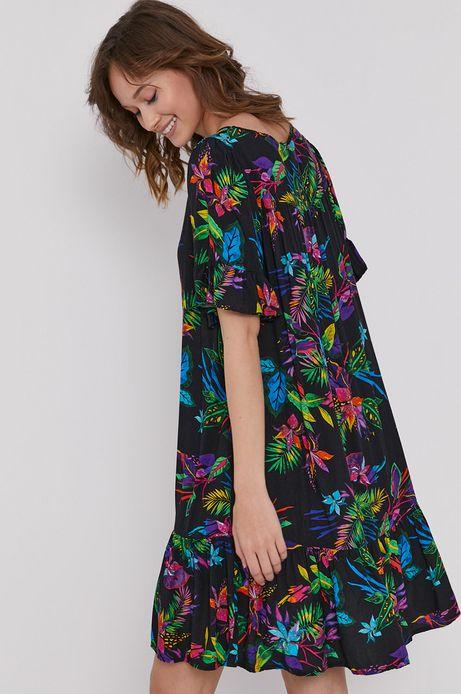 Sukienka damska z wiskozy z falbanką czarna