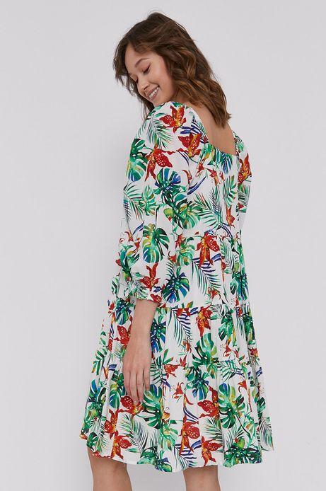 Rozkloszowana sukienka damska w tropikalny wzór biała