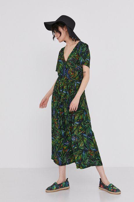 Wzorzysta sukienka damska ze spiczastym dekoltem