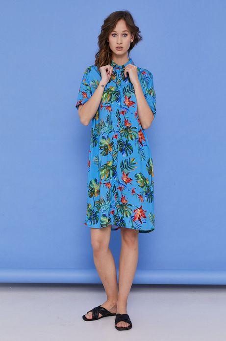Sukienka damska z kołnierzykiem w egzotyczny wzór niebieska