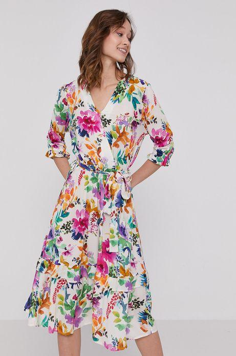 Sukienka damska z kopertowym dekoltem w kwiatowy wzór
