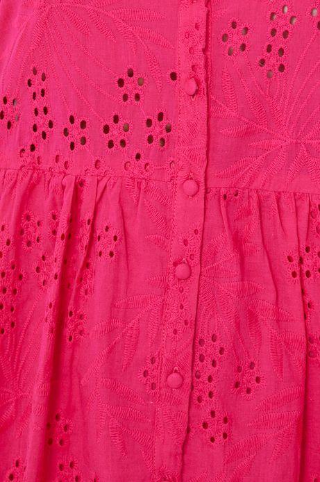 Ażurowa sukienka damska z kołnierzykiem różowa