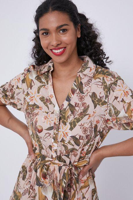 Bawełniana sukienka damska w roślinny wzór beżowa