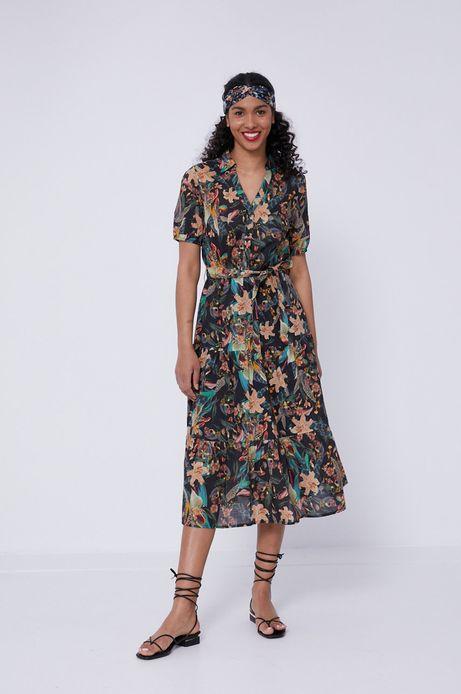 Bawełniana sukienka damska w roślinny wzór czarna