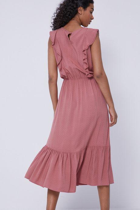 Sukienka damska z falbankami różowa